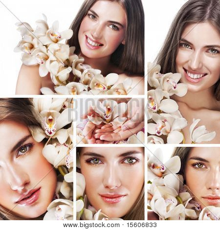 Collage of several photos for beauty industry