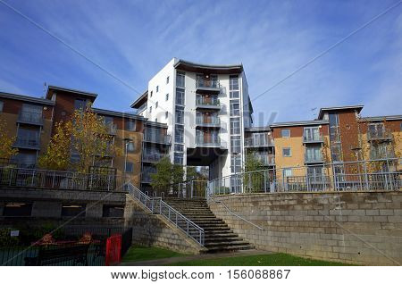 Bracknell,England - November 10, 2016: Modern apartment complex in Bracknell, a town in the South East of England where extensive redevelopment is taking place