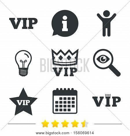 VIP icons. Very important person symbols. King crown and star signs. Information, light bulb and calendar icons. Investigate magnifier. Vector