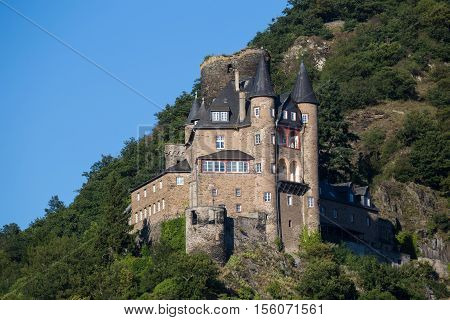 Ancient castle Katz Germany Rhineland-Palatinate Rhine River Valley - UNESCO World Heritage exterior close-up on blue sky background