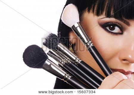 Woman with beautiful makeup. Space for text.