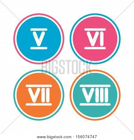 Roman numeral icons. 5, 6, 7 and 8 digit characters. Ancient Rome numeric system. Colored circle buttons. Vector
