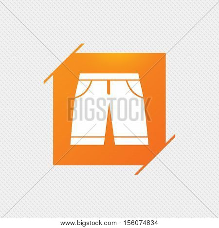 Men's Bermuda shorts sign icon. Clothing symbol. Orange square label on pattern. Vector