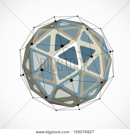 3D Vector Low Poly Spherical Object With Black Connected Lines And Dots, Geometric Monochrome Wirefr