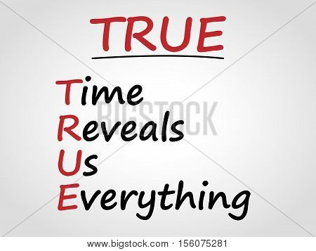 Time reveals us everything. TRUE. Abbreviation. Vector.
