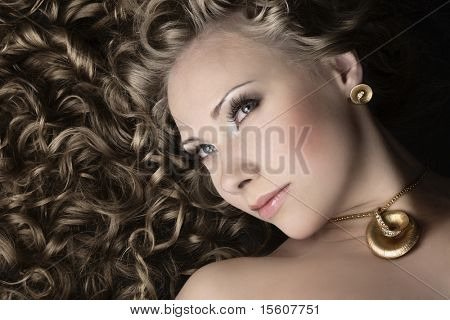 Gorgeous woman with shiny long hair