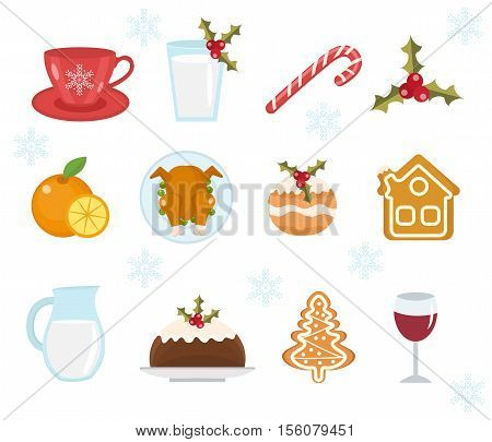 Christmas food icons set. Set of traditional christmas food and desserts food for Santa. Set of festive food and decorations for christmas table. Holiday dinner food icons. Vector illustration