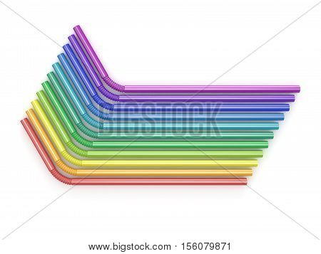 Drinking straws rainbow colors. Arranged top view. 3D render illustration isolated on white background