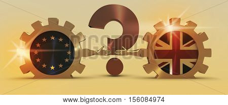 United Kingdom exit from Europe relative image. Brexit named politic process. National flags on golden cog wheels. 3D rendering. Handshake metaphor. Question mark