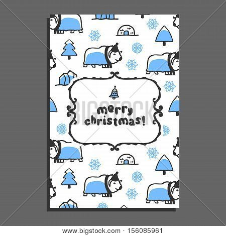 Merry christmas greeting card template with cute cartoon musk-ox. Vector snowflakes and icebergs. Arctic animal wears scarf