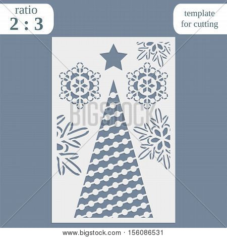Laser cut christmas invitation card template. Cut out the paper card with lace pattern. Greeting card template for cutting plotter. Congratulation to Christmas or New Year. Metal plate cut by laser.