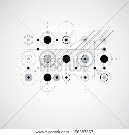 Vector Abstract Monochrome Background Created In Bauhaus Retro Style. Modern Geometric Composition C