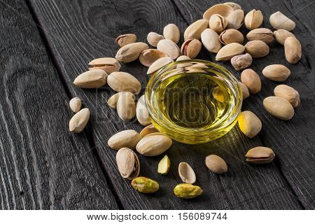 Pistachio and pistachio oil. It is used in dietary and healthy nutrition cosmetics skin care. The source of vitamins and polyunsaturated fatty acids