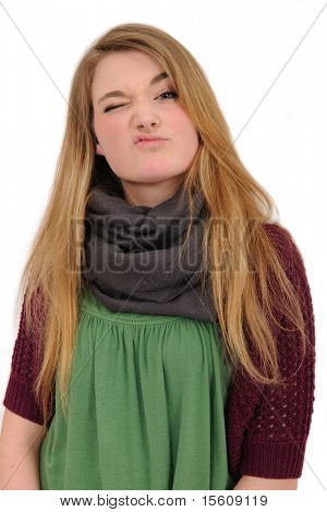 portrait of a beautiful girl showing dissaprove isolated on a white background