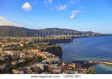 beautiful scenic of sorrento coast line naple harbor south italy