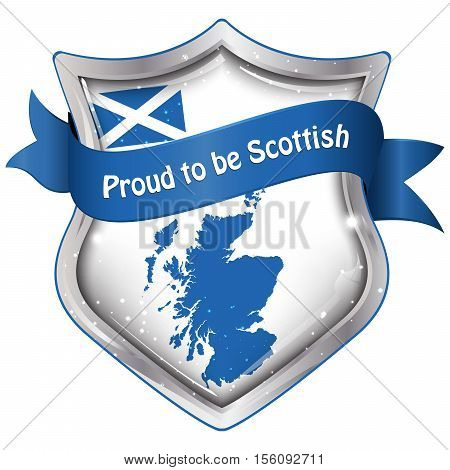 Proud to be Scottish - shield shaped stamp, label with the national flag of Scotland