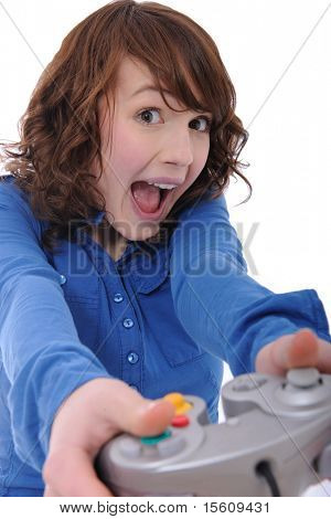 cute teenage girl playing videogame