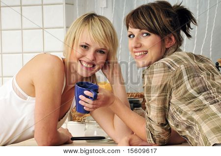 girl talk: women having a coffee break