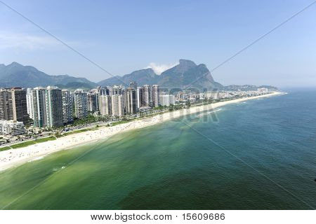 "Aerial view of ""Barra da Tijuca"" beach in the ""Rio de Janeiro"", Brazil during a sunny summer day."