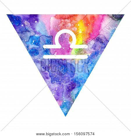 Libra zodiac sign on watercolor triangle background. Astrology symbol