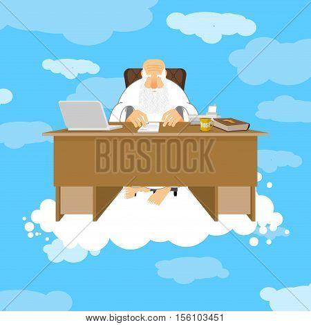 God Sitting In Office. Almighty Of Work Place In Heaven. Grandfather With Beard At Work. Holy Of Wor
