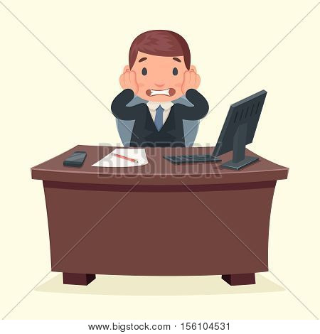 Problems disaster shock businessman character work office desktop design vector illustration