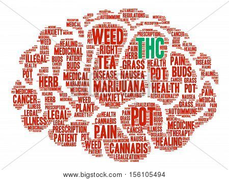 THC word cloud on a white background.