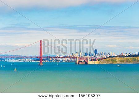 San Francisco City Golden Gate Bridge Distant View