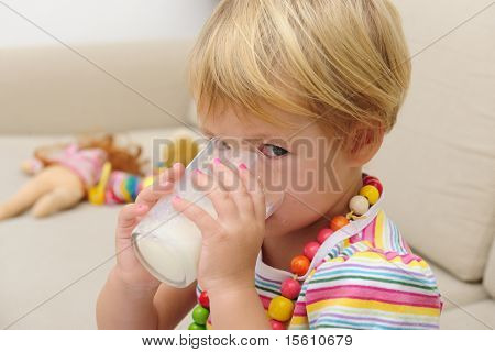 Preschool Child drink glass os milk