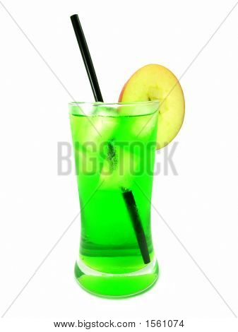 Cool Green Drink With Straw