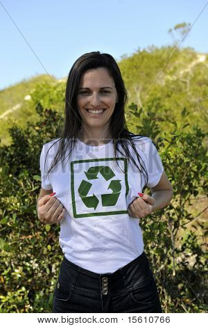 happy volunteer wearing a recycling t-shirt