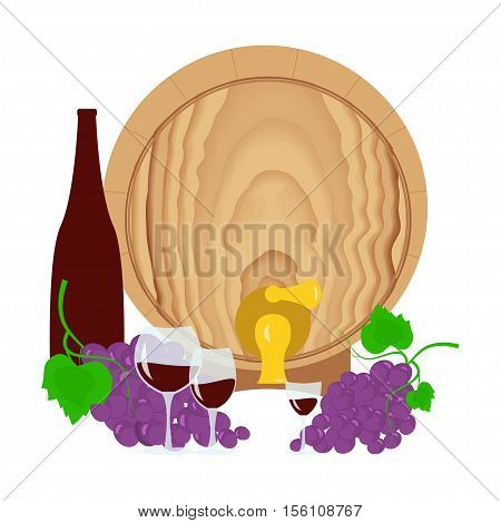 Still life with grapes, barrel of wine, bottle and glass of wine. Suitable for Invitation of tasting events or wine presentation. Flat design background. Vector eps10