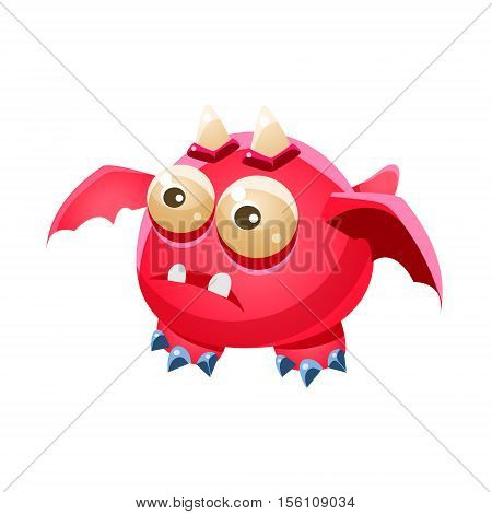 Pink Fantastic Friendly Pet Dragon With Two Horns Fantasy Imaginary Monster Collection. Colorful Imaginary Dragon Like Alien Creature From Another Planet.