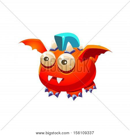 Red Fantastic Friendly Pet Dragon With Blue Mohawk Fantasy Imaginary Monster Collection. Colorful Imaginary Dragon Like Alien Creature From Another Planet.