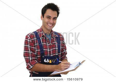 happy serviceman or craftsmen taking notes