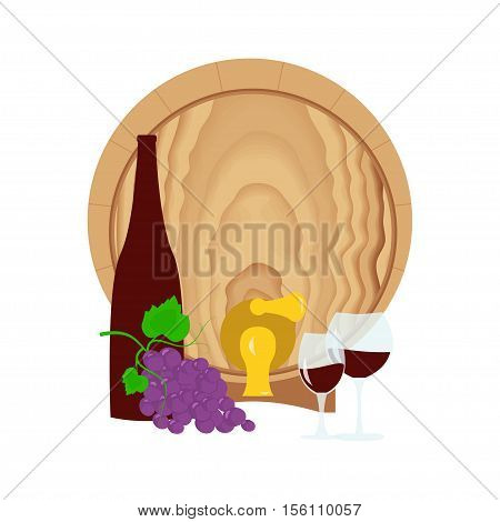 Still life with grapes, barrel, bottle and glass of wine. Suitable for Invitation of tasting events or wine presentation. Flat design background. Vector eps10