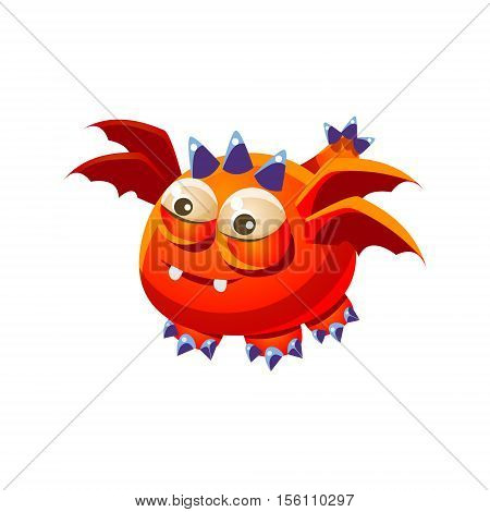 Orange Fantastic Friendly Pet Dragon With Four Wings Fantasy Imaginary Monster Collection. Colorful Imaginary Dragon Like Alien Creature From Another Planet.