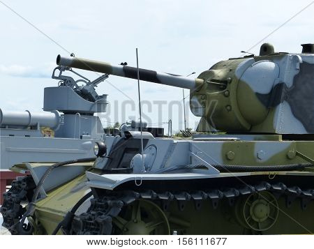 Upper Pyshma, Russia - July 2, 2016: Soviet medium Tank T-34-76 arr. 1940 of times of World War II - exhibit of a of the Museum of Military Equipment.