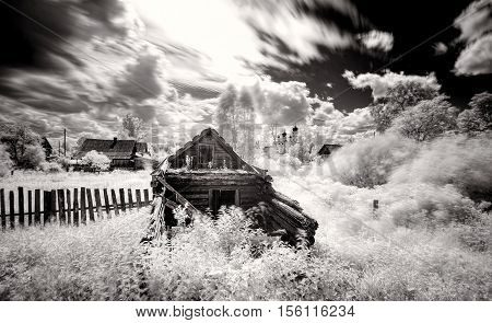 Russian village landscape bw infrared Russia crunch