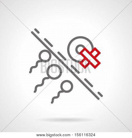 Three sperms and egg cell with crossed sign. Treatment of disease reproductive system. Harm of bad habits, drugs, smoking for fertilization. Single gray and red line style design vector icon.