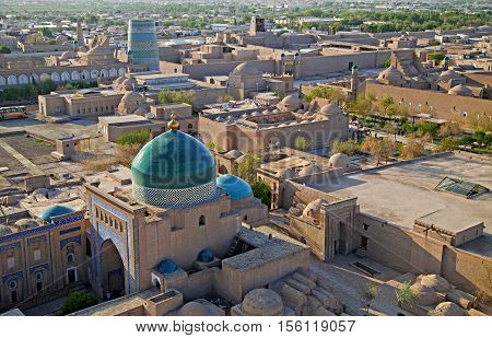 Aerial view of old town in Khiva, Uzbekistan, Central Asia