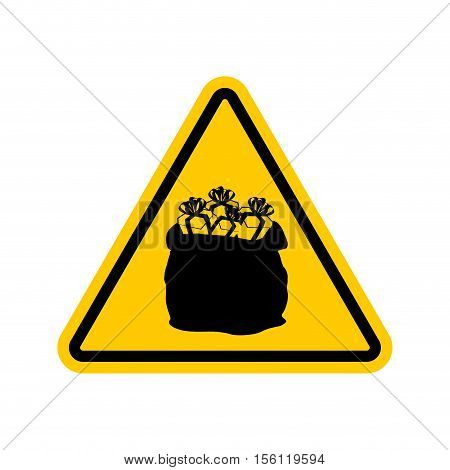 Warning Sign Attention Christmas Gift. Santas Sack With Triangle. Dangers Yellow Sign. Attention New