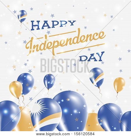 Marshall Islands Independence Day Patriotic Design. Balloons In National Colors Of The Country. Happ