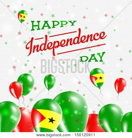 Sao Tome And Principe Independence Day Patriotic Design. Balloons In National Colors Of The Country.