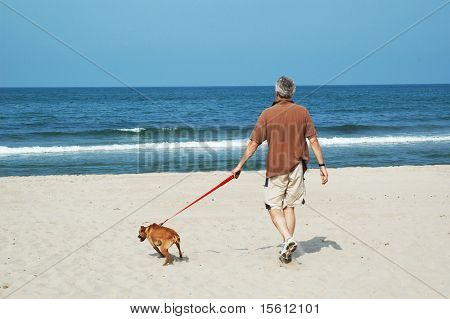 walking the dog at the silent beach