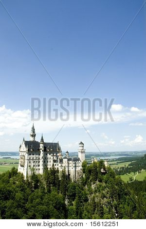 castle Neuschwanstein in Germany total taken from the viewpoint