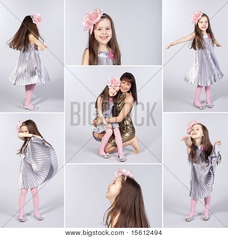 Collage Of Happy Little Girl Pictures
