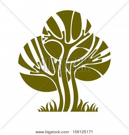 Vector image of single creative tree nature concept. Art symbolic illustration of plant