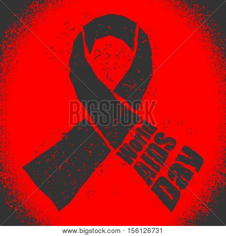 World Aids Day Emblem. Red Ribbon In Grunge Style Logo. Spray And Scratches. Noise And Brush Strokes