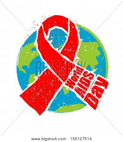 World Aids Day. Red Ribbon In Grunge Style. Spray And Scratches. Noise And Brush Strokes. Awareness